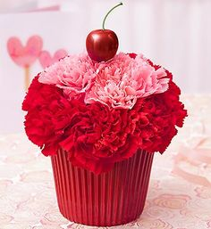 Cupcake in Bloom® For Your Cupcake™- Cupcake-shaped arrangement of the freshest pink and red carnations $29.99