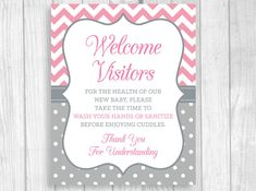 Printable 8x10 Please Wash Your Hands Meet and Greet - Pink and Gray - Hand Sanitizer Sign by WeddingsBySusan