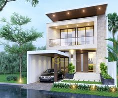 Ocha Private House - Jakarta- Quality house design of architectural services, experienced professional Bali Villa Tropical designs from Emporio Architect. Bungalow House Design, House Front Design, Modern House Design, Modern Minimalist House, House Extension Design, Architect House, Facade House, Exterior Design, Modern Architecture