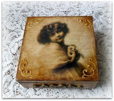 Vintage Style Wooden Keepsake Box , Jewelry Box , Decoupage Box , Vintage Girl