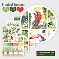 Free Printable Tropical Summer Planner Stickers from lifewithmaya.com Printable Planner Pages, Free Planner, Printable Planner Stickers, Blog Planner, Free Printables, Hobby Lobby, Create 365 Happy Planner, Summer Planner, Erin Condren