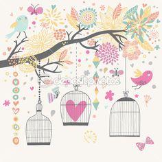Cartão do conceito de liberdade. pássaros de gaiolas — Ilustração de Stock #44238383