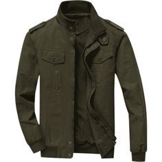 Mens Zip Up Jacket ($30) ❤ liked on Polyvore featuring men's fashion, men's clothing, men's outerwear, men's jackets, mens zip up jackets, mens green military jacket, mens olive green jacket and mens army green jacket