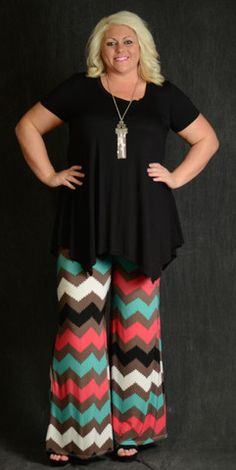 Chevron Multicolor Palazzo Pants – Curvy Online Boutique