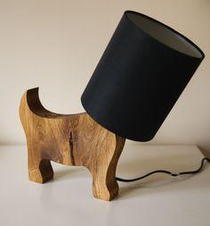 Oak Dog Light wooden table lamp made from solid oak modern Wooden Table Lamps, Light Table, Solid Oak, Bedside, Lighting Design, Modern Table, Contemporary, Etsy, Dogs