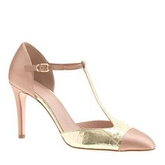 gold T bar shoes - pretty peeking out under a lace wedding dress