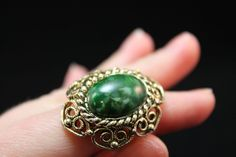 RING  GREEN marbled and gold filigree ADJUSTABLE by angelinesattic, $10.00