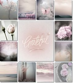 Be grateful for the good moments. moodboard grey and pink by AT