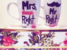 DIY Bride and Groom Mugs .. DIY Step by Step Tutorial on how to make these beautiful mugs to go inside a Bride Box or as a gift alone!