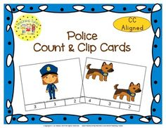 These cards are terrific for Math Centers - A Hands-On Activity your kiddos will love!!!  Police Clip Cards allow learners to practice counting. WAIT, THERE'S MORE!!! More cards that is. Now, you have 20 clip cards! Police Count & Clip Cards help your little tykes practice counting from 1 to 20!!!