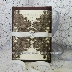 Brown 2013 Red Leaves Laser Cut Wedding Invitation Card