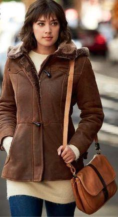 31293ef67b Piper Shearling Sheepskin Coat with Detachable Hood