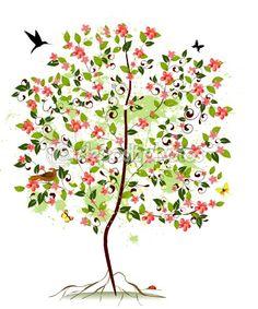 apple blossoms clip art | Apple blossom tree | Stock Vector © Oksana Merzlyakova #3289159