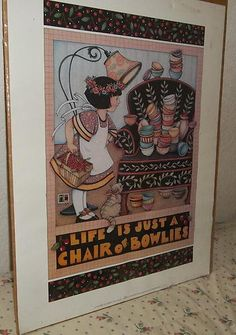 "Mary Engelbreit(Engelbright;Englebreit)Poster""Chair of Bowlies""1983 Out of Print"
