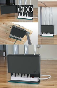 Plug Hub Makes Your Wire Mess Disappear - GetdatGadget Keep your cords clean and concealed with Plug Hub, an under-desk cord management station that hides your power strip and cords in one discreet unit. Cord Organization, Home Office Organization, Office Decor, Office Ideas, Computer Desk Organization, Desk Office, Desk Ideas, Work Desk, Office Furniture