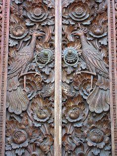 A beautifully detailed Bali door carving