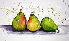 Pears in watercolors.