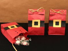 These super-cute Santa Sacks are just perfect for holiday parties, classroom goody bags, and Dec. Christmas Treat Bags, Christmas Party Favors, Christmas Gift Wrapping, Xmas Party, Christmas Goodies, Christmas Candy, Diy Christmas Gifts, Christmas Projects, Holiday Crafts