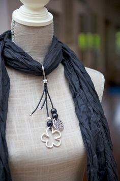 SCARF with Scarf PENDANT OOAK Scarf jewelry by LaMiaCasa.  Very clever and attractive.  She offers 4 scarf color options.