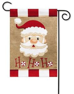 Santa Ho Ho Ho Christmas garden flag. Add to your holiday decorations with eye-catching Evergreen Christmas outdoor yard flags. Free shipping on $49 orders