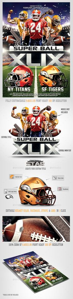 Superbowl xlix Football, editable  photoshop Flyer Template Download now : http://graphicriver.net/item/super-ball-football-party-flyer-template/10033811?ref=saltshaker911