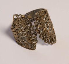 Fan Shaped Clamper Bracelet Vintage Silver by Violasvintages, $35.00