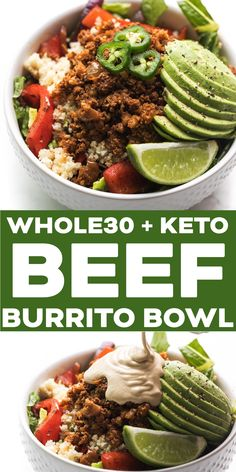 Ground Beef Burrito Bowl Recipe - Keto + Paleo Mexican taco bowls with seasoned groun. Ground Beef Burrito Bowl Recipe - Keto + Paleo Mexican taco bowls with seasoned ground beef, fajita veggies, cauliflower rice and lettuce. Dairy Free Bread, Dairy Free Diet, Dairy Free Recipes, Paleo Recipes, Mexican Food Recipes, Real Food Recipes, Gluten Free, Easy Recipes, Paleo Food