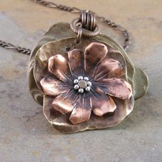 Necklace | Marcie Jane. Oxidized copper, brass and silver.