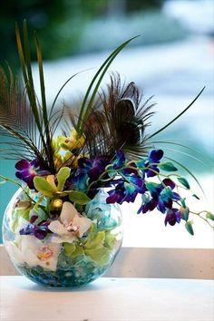 Peacock Themed Flower Vase