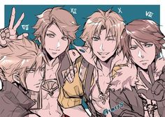 Cloud Vaan Tidus and Squall - Final Fantasy VII XII X VIII