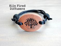 Black Tree of Life Clay Diffuser Bracelet by KilnFiredDiffusers