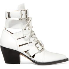 Chloé Rylee cutout glossed-leather ankle boots (19.290.580 IDR) ❤ liked on Polyvore featuring shoes, boots, ankle booties, cutout ankle boots, lace-up booties, laced up ankle boots, leather ankle booties and white ankle boots