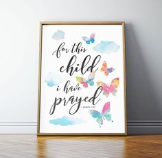 For this Child I have Prayed, 1 Samuel 1 27, Scripture Art, Bible Verse Wall Art, Scripture Wall Art, Girl Nursery Decor, PRINTABLE Art, by off2marketPrintables on Etsy