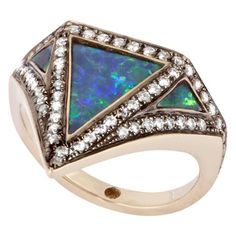 Krystallos Black Opal Diamond Pave Black Rhodium Plate Vedra Ring | From a unique collection of vintage cocktail rings at https://www.1stdibs.com/jewelry/rings/cocktail-rings/