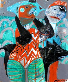 "Saatchi Art Artist Rusudan Khizanishvili; Painting, ""Walking Girls"" #art"
