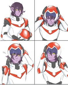 galra!Keith is having some troubles getting his helmet on!