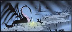Eyvind Earle Sleeping Beauty Concept Art Philip fights Maleficent the Dragon