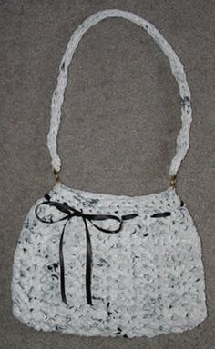 Purse made from plastic grocery bags