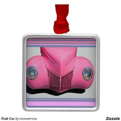 Pink Car Metal Ornament #Pink #Car #Auto #Automobile #Travel #Vintage #Classic #Holiday #Ornament