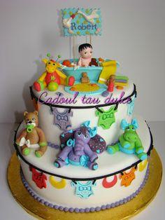 Tort de botez pentru Robert | Cadoul Tau Dulce Birthday Cake, Desserts, Food, Tailgate Desserts, Birthday Cakes, Deserts, Essen, Dessert, Yemek