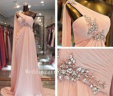 A-line Pink One-shoulder Sleeveless Long Chiffon Prom Evening Wedding Dress Homecoming Bridesmaid Dress(China (Mainland))