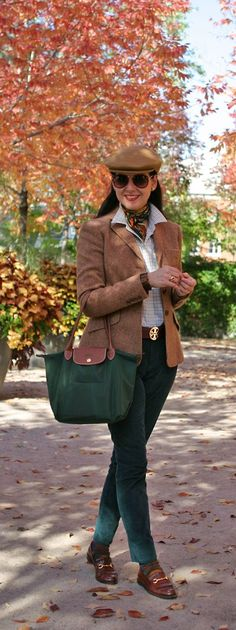 The Starting Point: Tweed crested blazer. The Complementary Pieces:  Green cord jeans; window pane shirt. The Finishing Touches: Newsboy cap (stolen from my dad!); silk scarf; burgundy belt; gold accessories; green and brown bag; argyle socks; horsebit loafers; red aviator sunglasses...Susana Fernandez | A Key to the Armoire