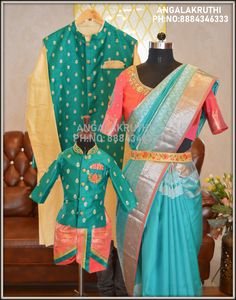 family matching dress designs by Angalakruthi dd and son matching dress designs dad kurta matching with boys kurta same color dress designs for family partywear designs for family Matching dress designs for mother and son in india boutique Kids Party Wear Dresses, Girls Party Wear, Kids Dress Wear, Mother Daughter Matching Outfits, Mother Daughter Fashion, Matching Family Outfits, Indian Dresses For Kids, Kids Dress Collection, Mom And Son Outfits