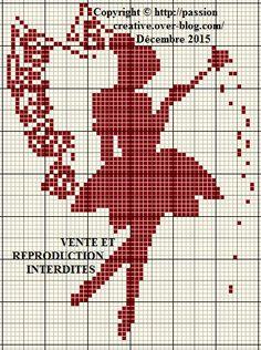 Grille gratuite point de croix : Fée monochrome rouge 2 - Le blog de Isabelle