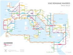A subway-style diagram of the major Roman roads, based on the Empire of ca. 125 AD.