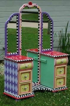 Hand Painted Vanity by Mad Tea Party Furniture on Etsy by kitkt3235