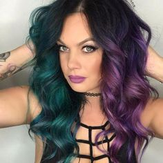 Purple ombre hair is a creative and fun way to get a stunning day-to-day look. Spiking popularity rates, tens of purple hair shades to choose from, and vibrant hair coloring results recommend purple ombre. Purple And Green Hair, Teal Hair, Purple Ombre, White Hair, Vivid Hair Color, Ombre Hair Color, Cool Hair Color, Unique Hair Color, Edgy Hair Colors