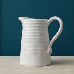 White Ribbed Pitcher    Graham and Green