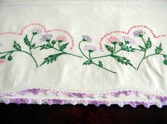 Vintage Cotton Embroidered and Crocheted Edge Pillow Case