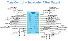 Tone Control circuit diagram by adding subwoofer filter feature to more performance subwoofer output on amplifier circuit. Its very cheap and easy to built.